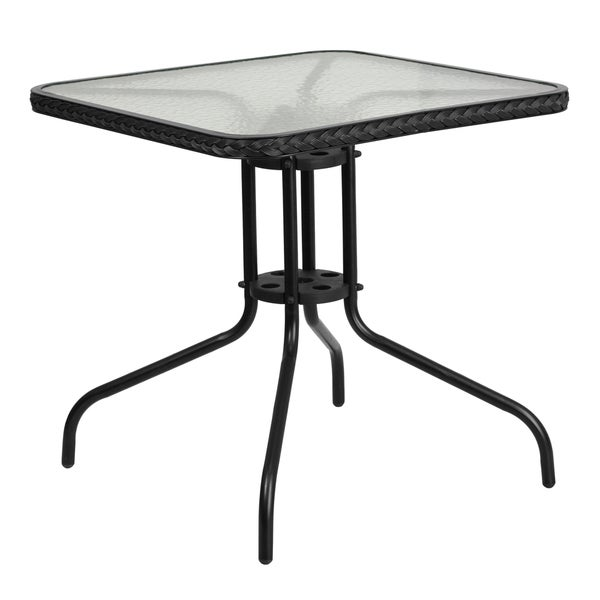 Shop zata black rattan tempered glass square bistro table free zata black rattan tempered glass square bistro table watchthetrailerfo