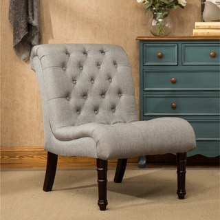 Rouen Grey Fabric Button-tufted Armless Slipper Chair