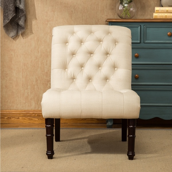 Rouen Grey Fabric Button Tufted Armless Slipper Chair   Free Shipping Today    Overstock.com   22968189