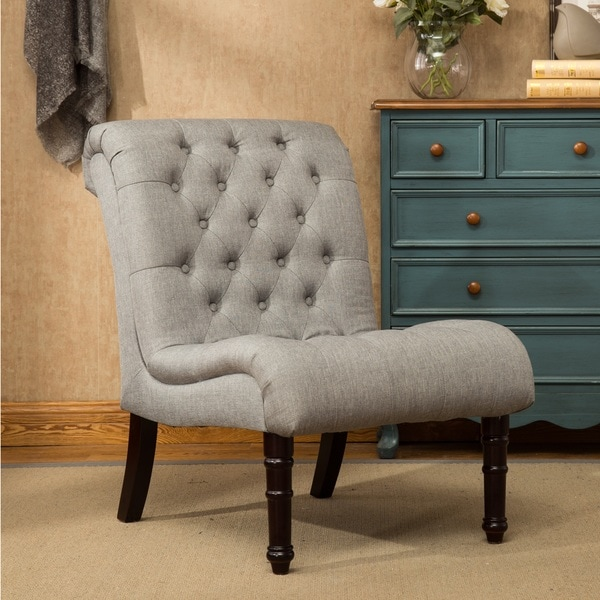 Rouen Grey Fabric Button Tufted Armless Slipper Chair