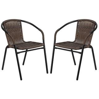 Zata Dark Brown Rattan Indoor and Outdoor Restaurant Stack Chairs