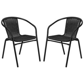 Zata Black Rattan Indoor and Outdoor Stack Chairs