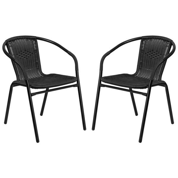Bon Zata Black Rattan Indoor And Outdoor Stack Chairs