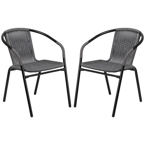 Zata Grey Rattan Indoor and Outdoor Stack Chairs