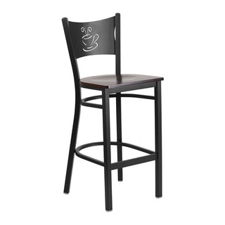 Offex Hercules Series Black Coffee Cut-out Back Restaurant Barstool With Walnut Seat