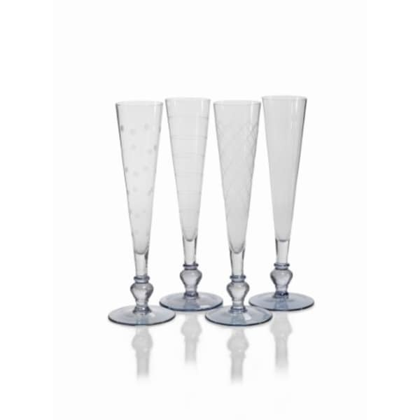 """Tatiana"" 11"" Tall Flute Champagne Glass, Light Blue Base (Set of 4)"