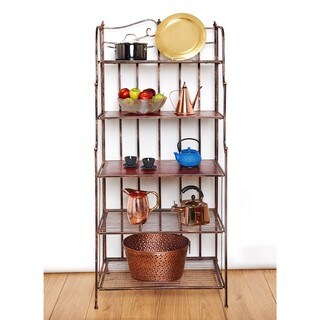 Old Dutch Montclair Antique Copper Stained Rubberwood Baker's Rack