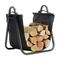 Firewood Log Holder with Black Canvas Carrier