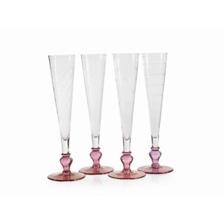 11-Inch High Tatiana Champagne Flute Lilac Base, Set of 4