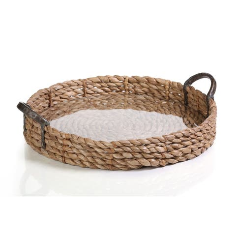"""20"""" Diameter Seagrass Serving Tray with Glass Insert"""
