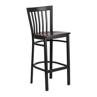 Offex HERCULES Series Black Metal Walnut Wood Seat School House Back Restaurant Barstool