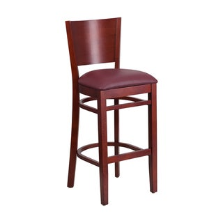 Offex Lacey Series Solid Back Mahogany Wooden Restaurant Barstool - Burgundy Vinyl Seat