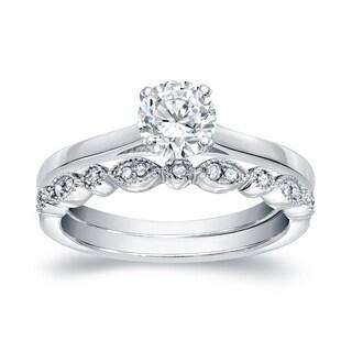 Auriya 14k Gold 2/3ctw Vintage Round Solitaire Diamond Engagement Ring Set