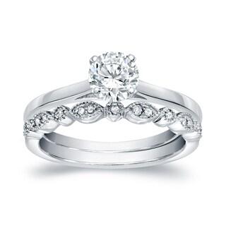 Auriya 14k Gold 5/8ct TDW Diamond Vintage Style Wedding Ring Sets