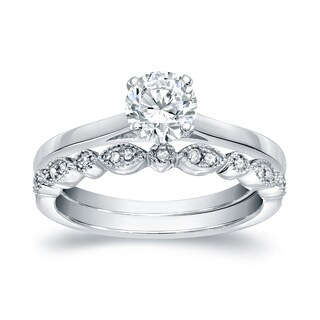 14k Gold Vintage Stackable 3/4ct TDW Round Solitaire Diamond Engagement Ring Set by Auriya