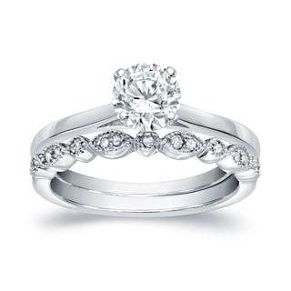 Auriya 14k Gold 7/8ct TDW Diamond Vintage Style Wedding Ring Sets