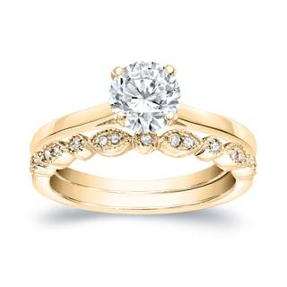 Auriya 14k Gold 1ct TDW Diamond Vintage Style Wedding Ring Sets