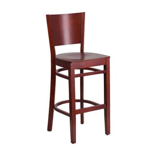Offex Lacey Series Solid Back Mahogany Wooden Restaurant Barstool