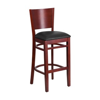 Offex Lacey Series Solid Back Mahogany Wooden Restaurant Barstool - Black Vinyl Seat