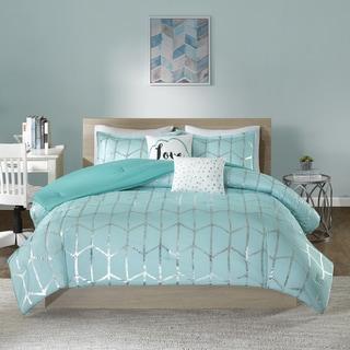 Wonderful Intelligent Design Khloe Aqua/ Silver Metallic Printed 5 Piece Comforter Set