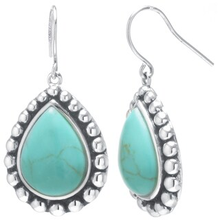 Sterling Silver Simulated Turquoise Pear Drop Earrings
