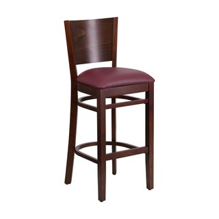 Offex Lacey Series Solid Back Walnut Wooden Restaurant Barstool - Burgundy Vinyl Seat