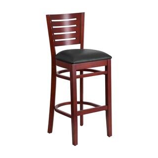 Offex Darby Series Slat Back Mahogany Wooden Black Vinyl Seat Restaurant Barstool