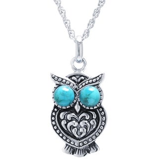 Athra Luxe Collection Sterling Silver Enhanced Turquoise Owl Pendant Necklace