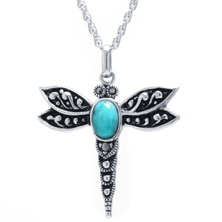 Athra Luxe Collection Sterling Silver Enhanced Turquoise Dragonfly Pendant Necklace