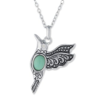 Athra Luxe Collection Sterling Silver Enhanced Turquoise Hummingbird Pendant Necklace