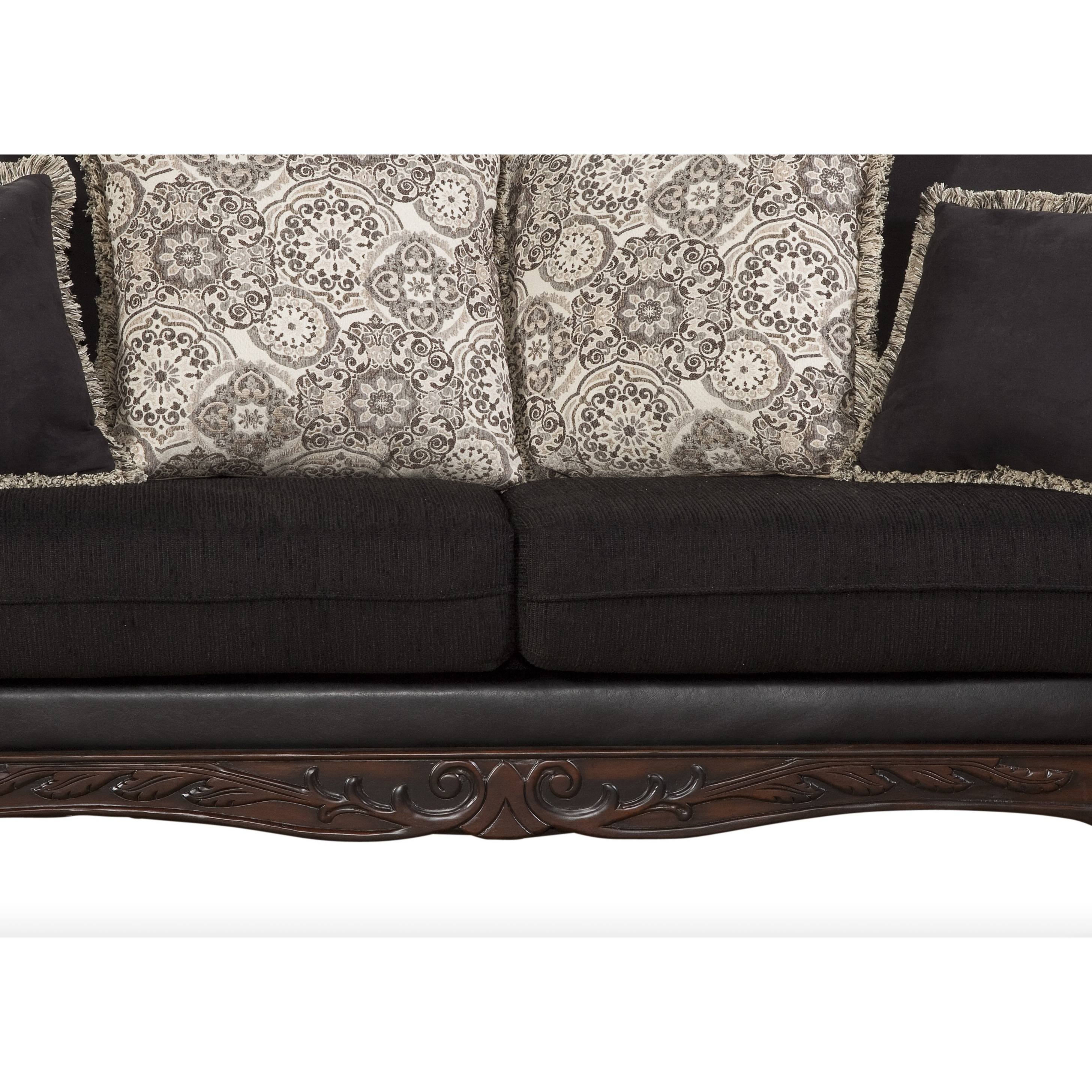 Shop San Marino Ebony Black Solid Wood Frame Sofa And Loveseat   Free  Shipping Today   Overstock.com   16649640