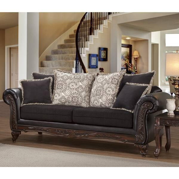 Brilliant Shop San Marino Ebony Black Solid Wood Frame Sofa And Machost Co Dining Chair Design Ideas Machostcouk