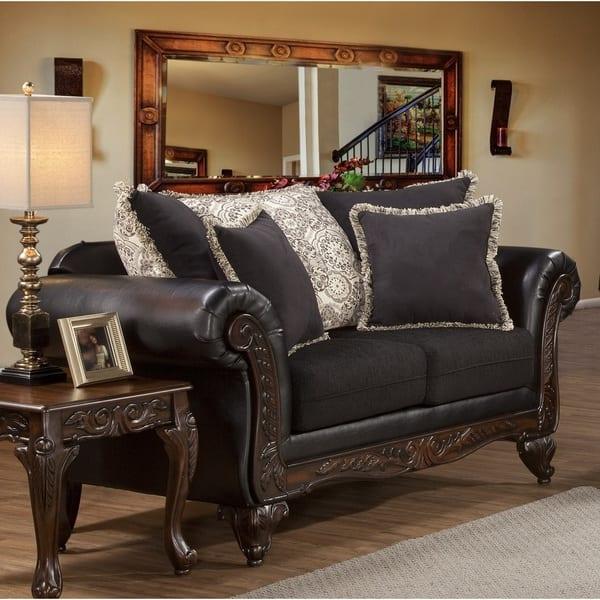 Incredible Shop San Marino Ebony Black Solid Wood Frame Sofa And Machost Co Dining Chair Design Ideas Machostcouk