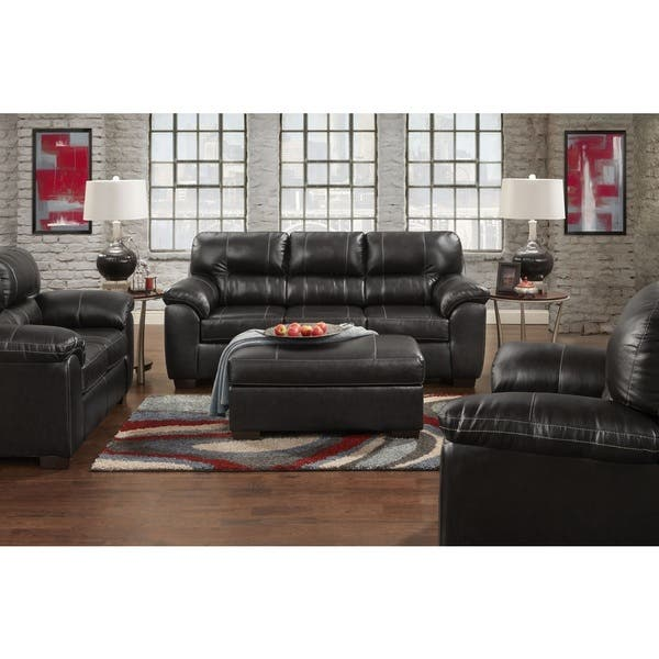 Shop Leeds PU Leather Living Room Set with Sofa and Loveseat ...