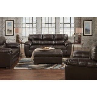 Leeds PU Leather Living Room Set with Sofa and Loveseat Set in Austin Chocolate
