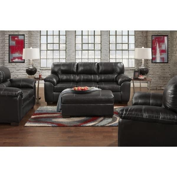 Shop Leeds Austin Black Faux Leather Sofa - Free Shipping ...