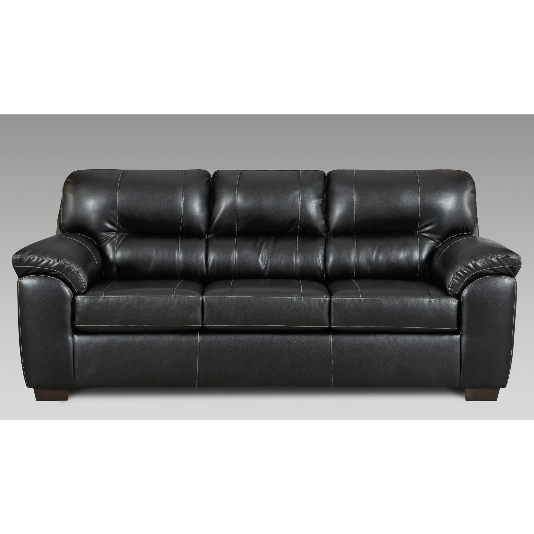 Leeds Austin Black Faux Leather Sofa