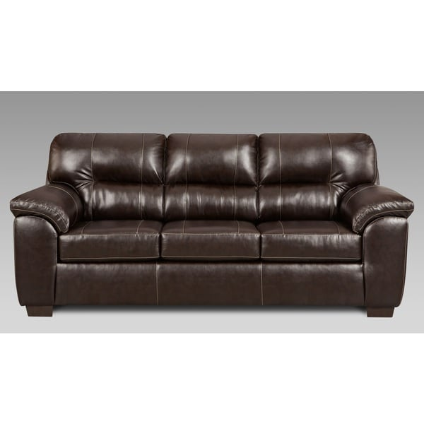 Shop Leeds Austin Chocolate Faux Leather Sofa - Free Shipping Today ...
