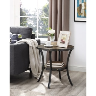 Biony Espresso Wood End Table with Nail head Trim