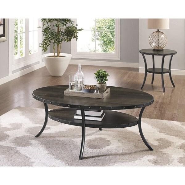 Biony Espresso Wood Coffee Table with Nail head Trim