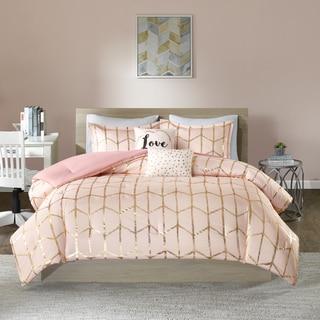 Intelligent Design Khloe Blush/ Gold Metallic Printed Comforter Set