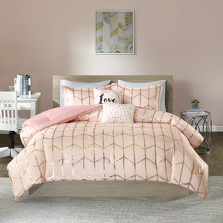 intelligent design khloe blush printed metallic dot gold 5 piece comforter set - Teen Bedroom Bedding