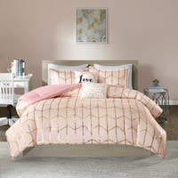 Intelligent Design Khloe Blush/ Gold Printed Metallic Dot Gold 5-piece Comforter Set