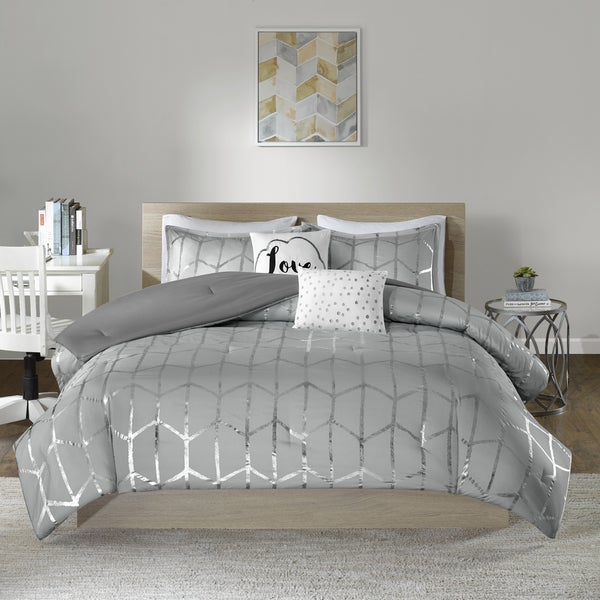 Intelligent Design Khloe Metallic Printed 5-piece Comforter Set 2-Color Option