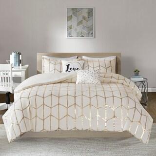 Intelligent Design Khloe Metallic Printed 5-piece Comforter Set (King - Cal King - Ivory/ Gold)
