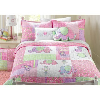 Pink Elephant Patch Cotton 3-piece Quilt Set