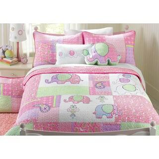Pink Elephant Patch Cotton 3-piece Quilt Set (2 options available)