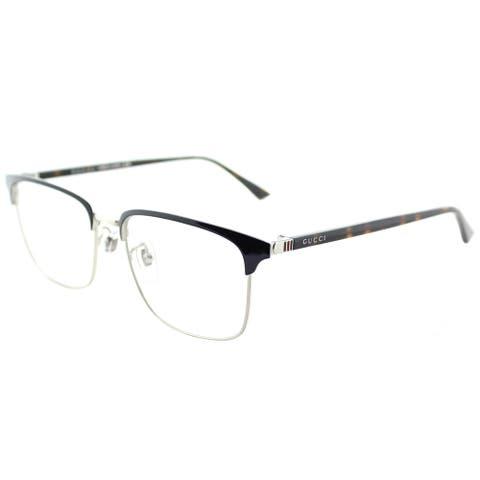 Gucci Unisex GG 0130O 003 Blue Silver Metal 53-millimeter Square Eyeglasses