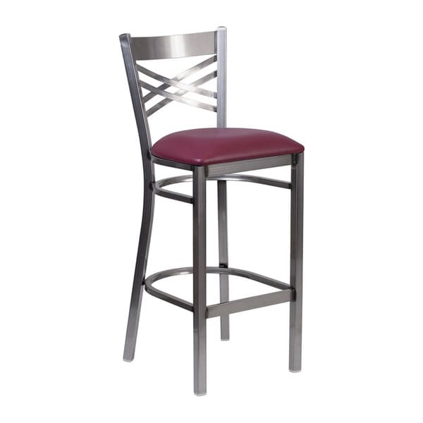 Offex Hercules Series Clear Coated 'X' Back Metal Burgundy Vinyl Seat Restaurant Barstool