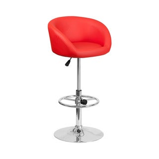 Offex Chrome Base/Red Vinyl Adjustable Height Restaurant Barstool